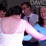 Bride and guests dancing