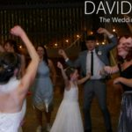 Bride and guests dancing at Dove Stones Barn