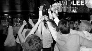 Throwing the bouquet in the great hall at Rochdale Town Hall