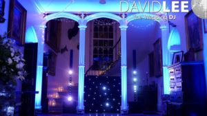 Leighton Hall Wedding DJ & blue uplighting set-up